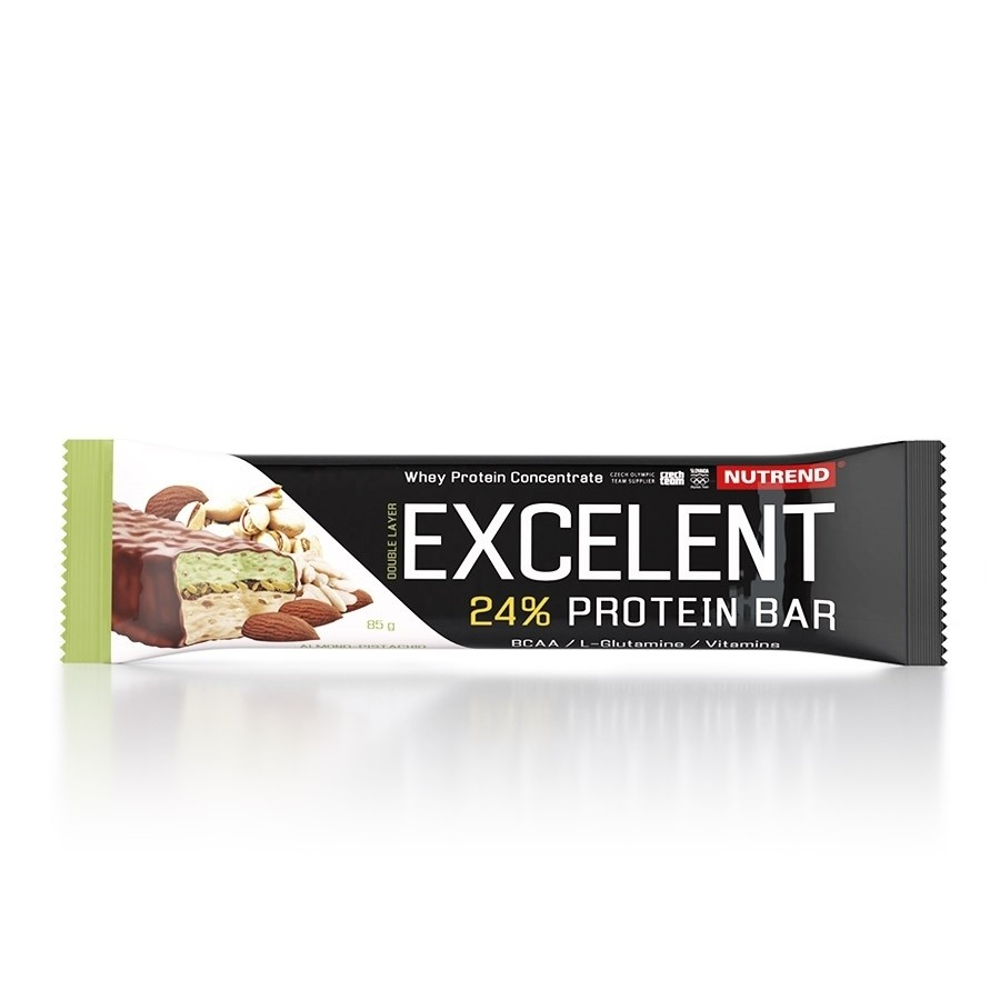 Nutrend EXCELENT kahekihiline proteiinibatoon 85 g, mandlimaitseline pistaatsiapähkeliga